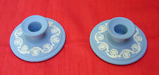 Wedgewood Blue & White Set of 2 Floral Scroll Candlestick Candle Holder