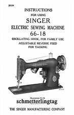 Singer Sewing Machine Manual 66-18 Book c1945 DPT