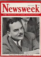 1944 Newsweek July 10 - Bradley forges on;B-24 crashes in Grand Canyon;Cherbourg