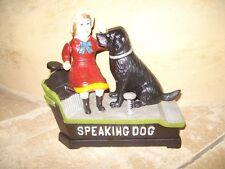 Mechanische Spardose Frau mit Hund Speaking Dog Gusseisen mit Funktion Nostalgie