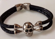Black Stingray Leather Skull Bracelet With Black Cubic Zirconia Eyes