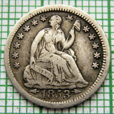 UNITED STATES 1853 HALF DIME - 5 CENTS, SEATED LIBERTY, ARROWS AT DATE, SILVER