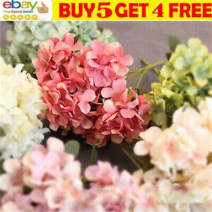 6Heads Artificial Silk Hydrangea Flowers Bouquet Fake Bloom Wedding Home DecorJJ