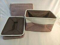 3 Pack-Large Storage Basket Bin Set Storage Cube Box Foldable Canvas Fabric