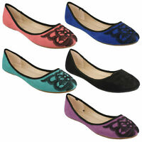 LADIES ANNE MICHELLE FLORAL EMBROIDERED FLAT PUMPS BALLERINA DOLLY SHOES L4R946