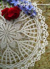 HaHa Large White Linen Crochet 44cm (17 inch) Doily Round Mat/ wedding