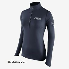 Nike Tailgate Element Half-Zip NFL Seahawks Women's Running Top XS Shirt Blue