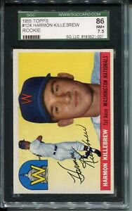 1955 Topps Baseball #124 Harmon Killebrew Rookie Card Graded SGC NR MINT+ 86 7.5