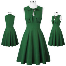 UK Retro Sleeveless Tied Neck High Stretchy A-Line Party Picnic Above Knee Dress