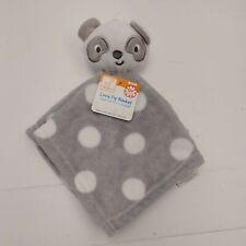 Swiggles Baby Blanket Security  Panda Bear Lovey Gray White Polka Dot