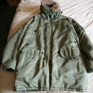 U.S Army N3B Snorkel Parka Cold Weather Military Jacket Olive Green xl used