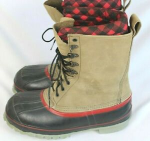 Red Wing Mens Leather Rubber Steel Toe & Shank Wool Liner Snow Boots Sz 9