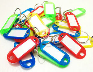 COLOURED KEY TAGS RINGS LUGGAGE NAME LABEL ID FOB CAR KEYRING PLASTIC KEYCHAIN
