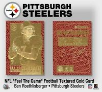 """BEN ROETHLISBERGER """"PITTSBURGH STEELERS"""" AUTOGRAPHED 23KT GOLD CARD! TEXTURED!"""