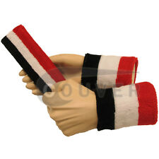 Couver Black White Red Striped Headband Wristband Set