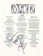 MKTO GROUP SIGNED CLASSIC LYRIC SHEET MALCOLM AND TONY