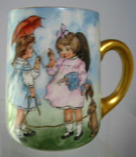 Antique Hand Painted Mug Girls & Dog,Artist signed, Limoges(unm), Beautiful OOAK