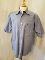 Tommy Hilfiger Men's Large Short Sleeve Blue Plaid Casual Button Down Shirt