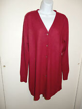 PRECIOUS FIBERS 100% CASHMERE RED V-NECK BUTTONS LONG CARDIGAN DUSTER SWEATER L