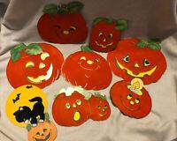 9 Vintage Pumpkins Paper Die Cut Halloween Wall Decoration Flocked 2-Sided