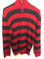XG Boys Red and Navy Black Striped Zipper Sweater Shirt Long Sleeve Size 10-12 L