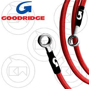 GOODRIDGE Set Brake Pipes IN Braided Steel Red Yamaha YZF 600 R6 2015 15