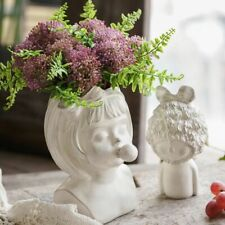 Nordic Resin Human Head Cute Bowknot Girl Bubble Gum Vase Decoration Creative
