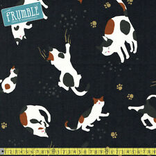 Quilt Gate Fabric Metallic Hyakka Ryoran Playful Cats Charcoal PER METRE Cute Ca