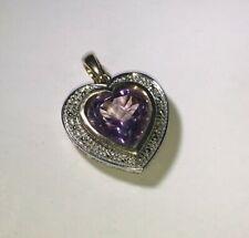 9ct White Gold Amethyst & Diamond Heart Pendant