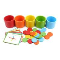 Montessori Wooden Color Classification Matching Cup Kids Early Educational Toy L