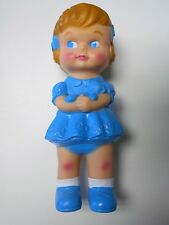 "Brand New**Rubber Doll Girl Blue**make sounds kids toy 7.5"" x 3"" (US Seller)"