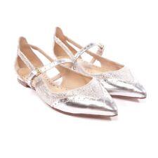 TORY BURCH Halbschuhe Gr. D 37,5 US 7 Silber Damen Schuhe Shoes Flats Leder