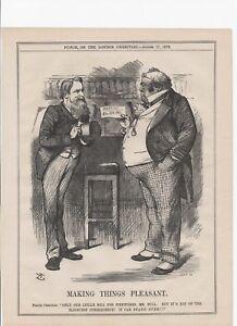 1878 PUNCH Satirical Cartoon JOHN BULL TALKS WAR DEFICIT WITH A POLITE CREDITOR