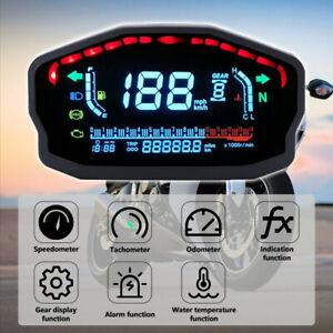 DC 8-12V Motorcycle LED LCD Speedometer Digital Odometer Black Kits Universal