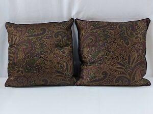 "Ralph Lauren Bohemian Paisley Throw Pillow SET OF 2 Rope Trim 18""x18"" NEW"