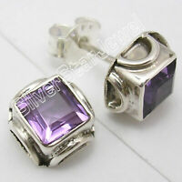 925 Pure Sterling Silver Purple Amethyst Studs Earrings Cheapest Shipping