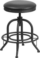 Industrial Style 24'' Counter Height Stool with Swivel Lift Black Leather Seat