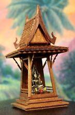 Thai Buddha Spirit House Teak Carve Brown Handcraft Wood Handmade Vintage Temple