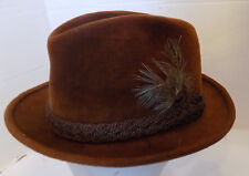 46938afa7ef Vintage Rust Velour Stetson Hat Braided Trim Feather Accent