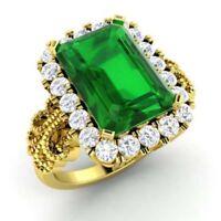 Emerald Cut Real 14K Yellow Gold 3.1 Ct Natural Diamond Gemstone Ring Size 6.25