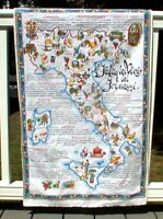 Vintage CLEAN Print Kitchen Dish Towel Souvenir Italy Sicilia Sardegna