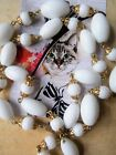 Vintage 1950s 66cm Long White Glass Bead Necklace