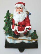 """Cast Iron & Hard Plastic Christmas Stocking Holder Hanger 5"""" Santa"""