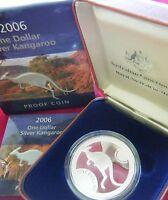 2006 Australia 1oz Silver Proof Kangaroo - with Box and Certificate RAM