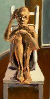 VINTAGE EVOCATIVE ABSTRACT MODERNIST NUDE FIGURY STUDY PORTRAIT PANEL PAINTING