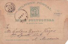 Portugal India 1892 1/4 Tanga Prepaid Postcard Mussoorie Postmark used VGC