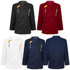 Top Unisex Long Sleeve Chef Coat Jacket Men Women Kitchen Work Cooking Uniform