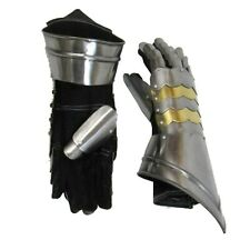 Medieval Gauntlets w Brass Plate Pair Knight Armor Mitten Costume Role Play Larp