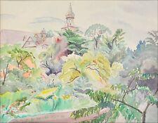 """HARRIET WOLF (HAMBURG 1894–1987) AQUARELL """"BLICK AUF EIN DORF"""""""