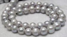 "9-10mm Silver Grey Akoya Freshwater Pearl Loose Beads AAA 15"""